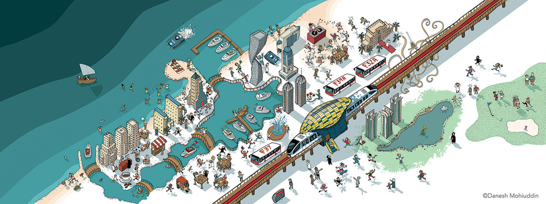 Dubai Marina Metro Illustration